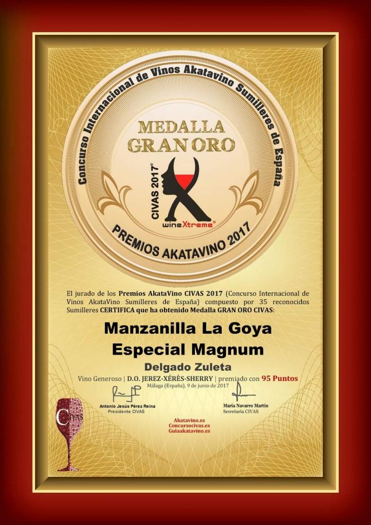 Manzanilla La Goya mágnum - Medalla GRAN ORO